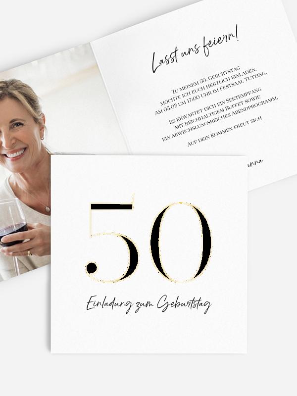 Einladung 50. Geburtstag Zahlenfokus