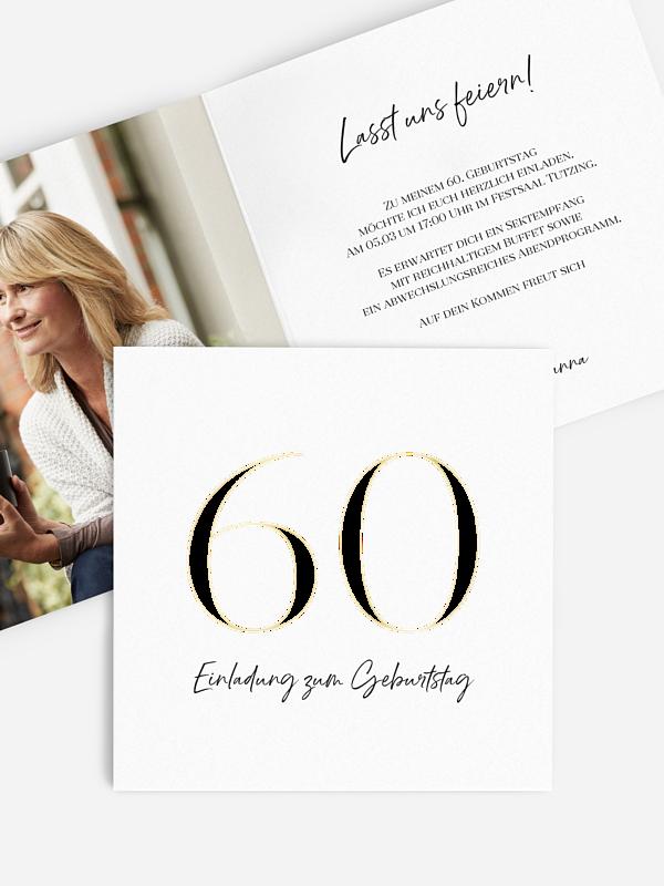 Einladung 60. Geburtstag Zahlenfokus