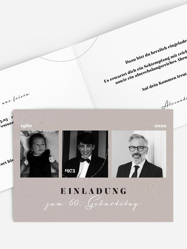 Einladung 60. Geburtstag Lebenslinie