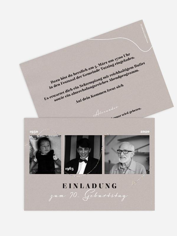 Einladung 70. Geburtstag Lebenslinie