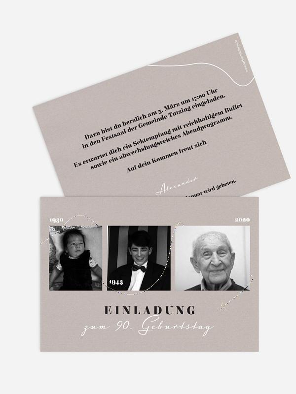 Einladung 90. Geburtstag Lebenslinie