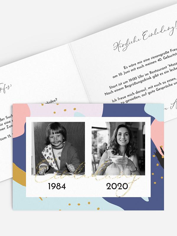 Einladung 40. Geburtstag Pattern