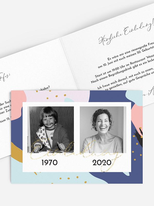 Einladung 50. Geburtstag Pattern