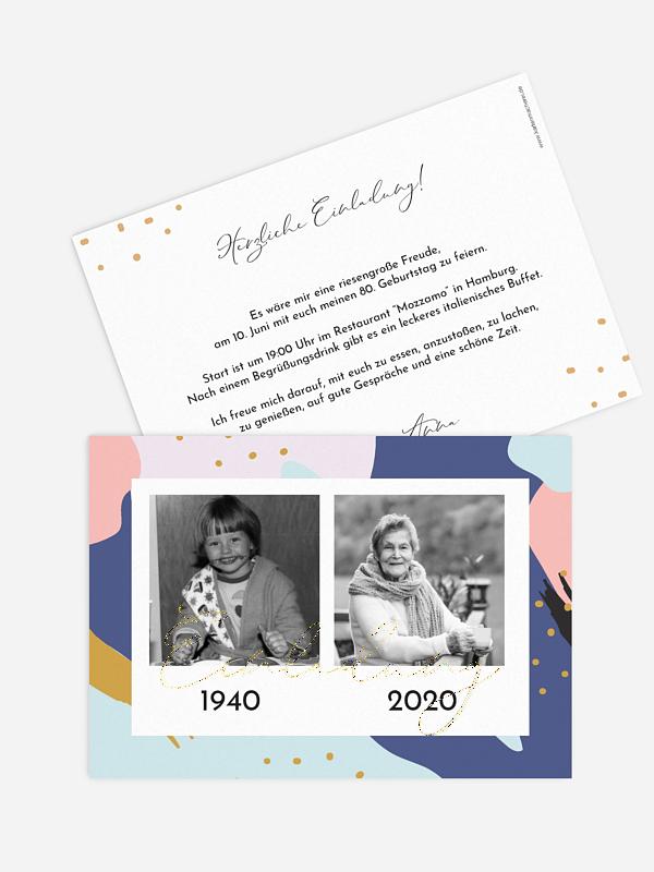 Einladung 80. Geburtstag Pattern