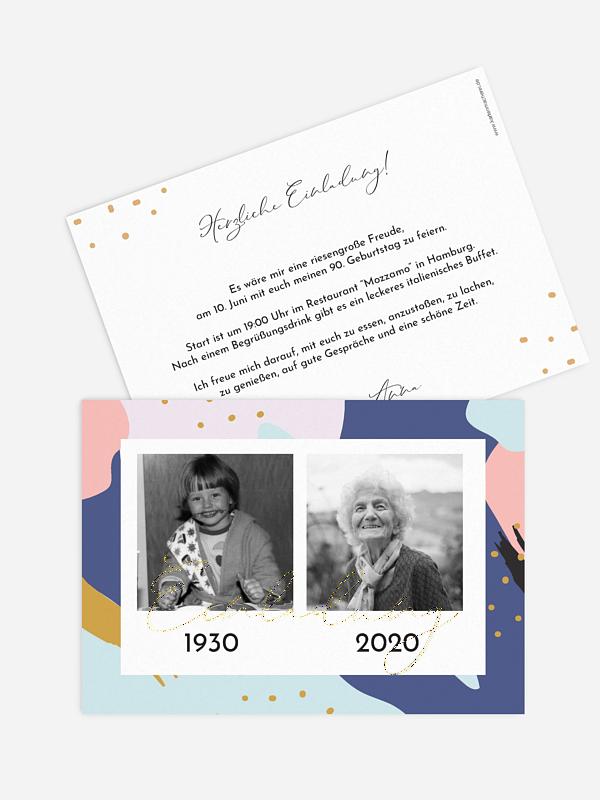 Einladung 90. Geburtstag Pattern