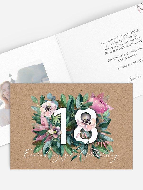 Einladung 18. Geburtstag Bloom