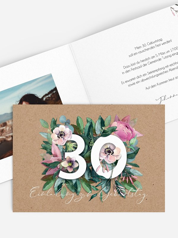 Einladung 30. Geburtstag Bloom
