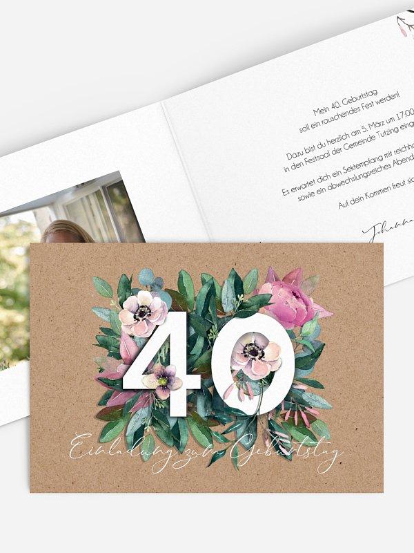 Einladung 40. Geburtstag Bloom