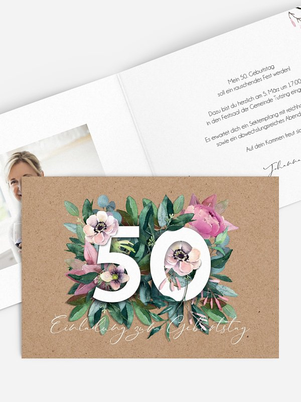 Einladung 50. Geburtstag Bloom