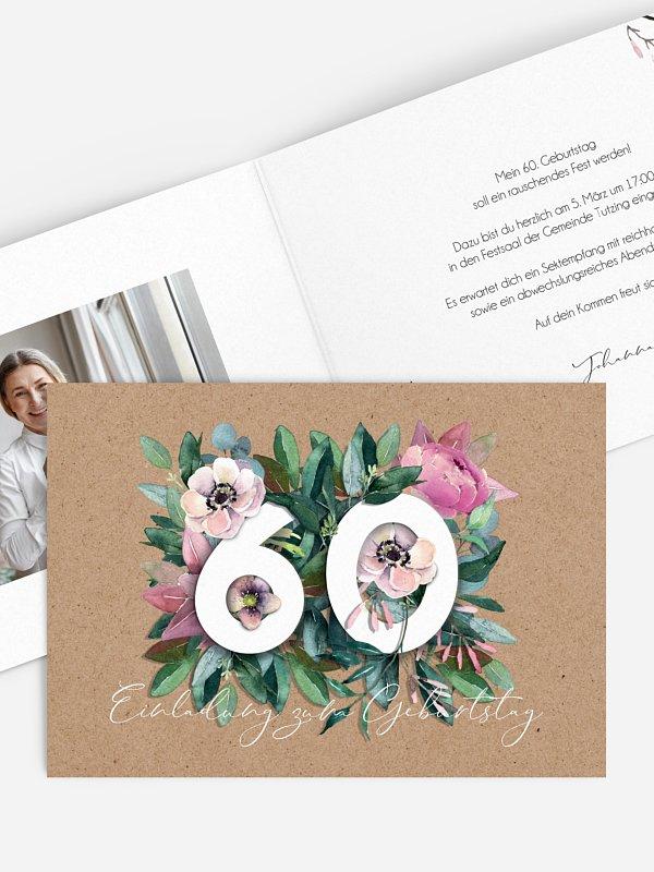 Einladung 60. Geburtstag Bloom