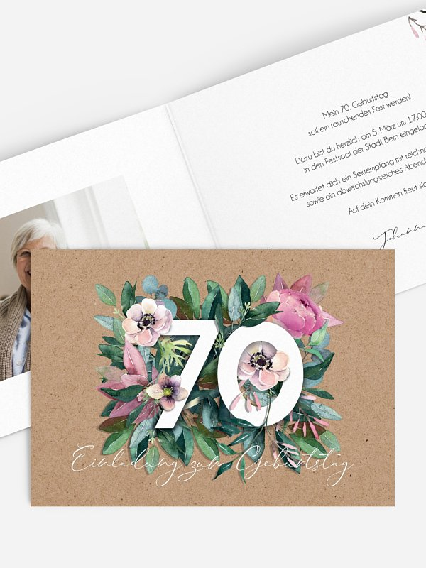 Einladung 70. Geburtstag Bloom