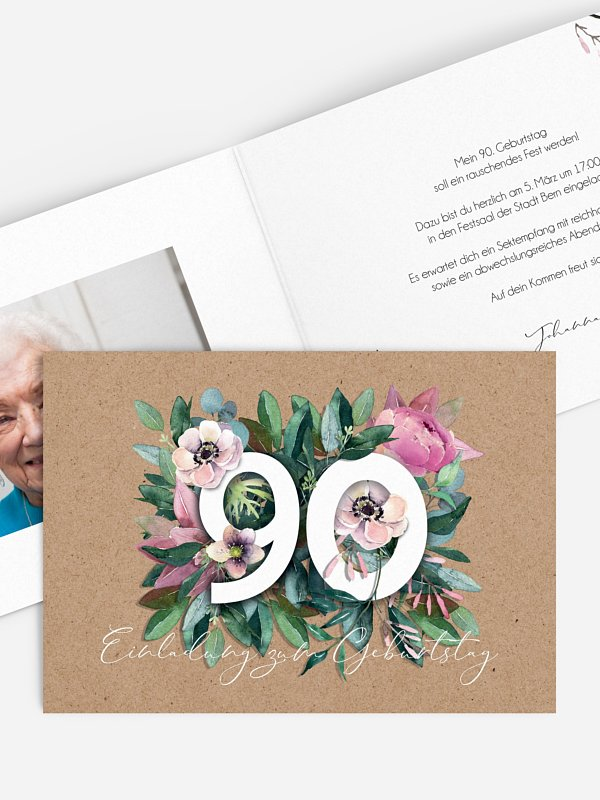 Einladung 90. Geburtstag Bloom