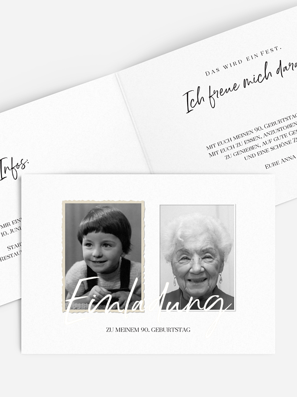 Einladung 90. Geburtstag Rückblende