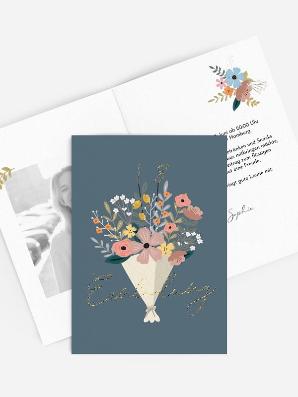 Einladung 18. Geburtstag Blumenstrauß