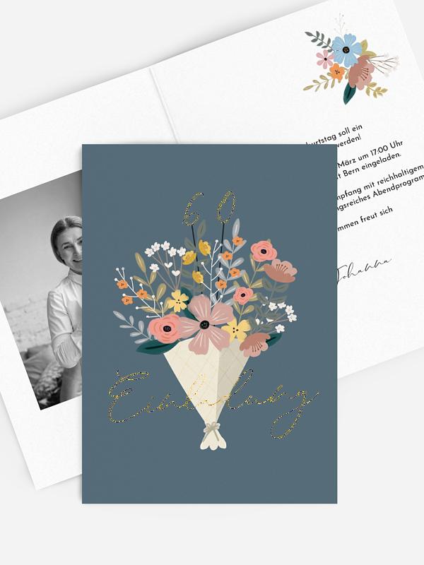 Einladung 60. Geburtstag Blumenstrauß