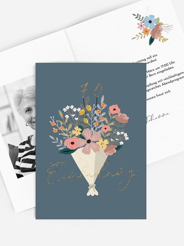 Einladung 70. Geburtstag Blumenstrauß