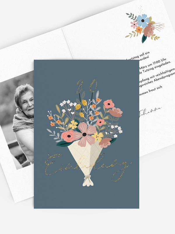 Einladung 80. Geburtstag Blumenstrauß