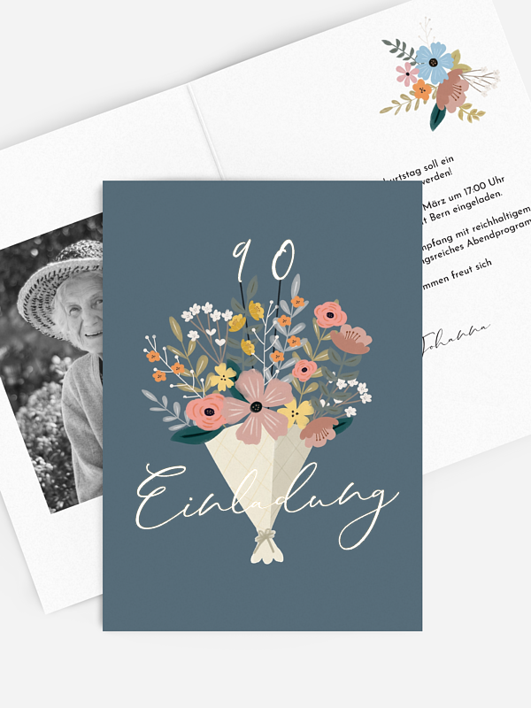 Einladung 90. Geburtstag Blumenstrauß