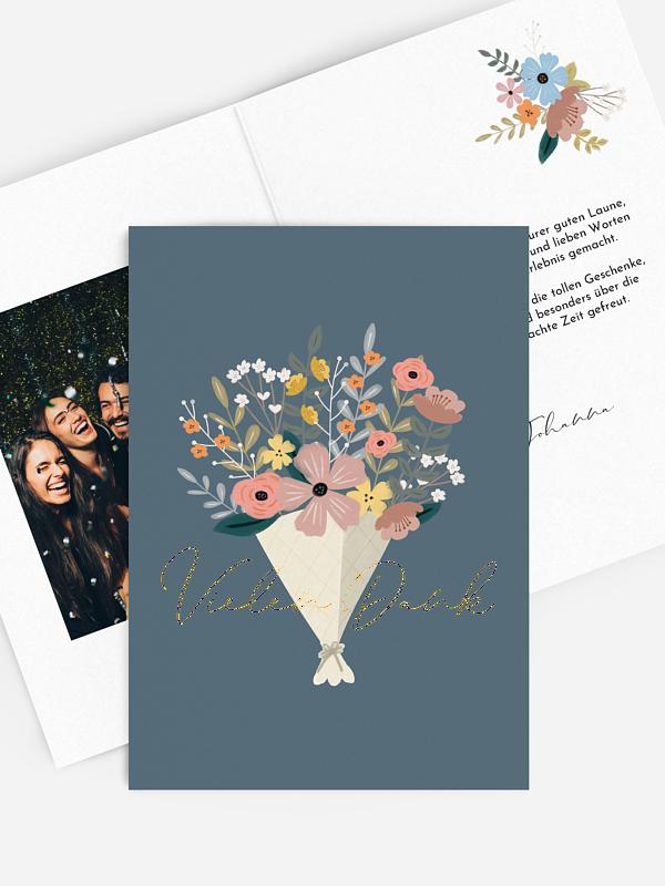Dankeskarte Geburtstag Blumenstrauß