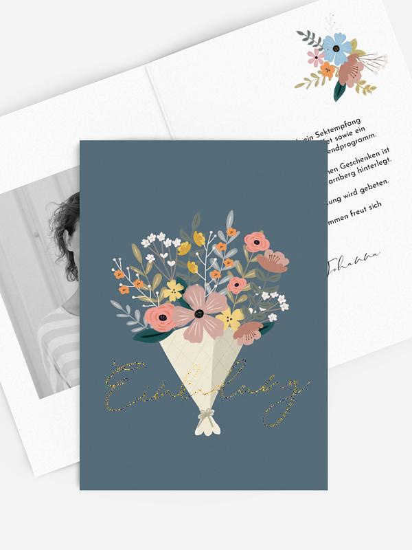 Geburtstagseinladung Blumenstrauß