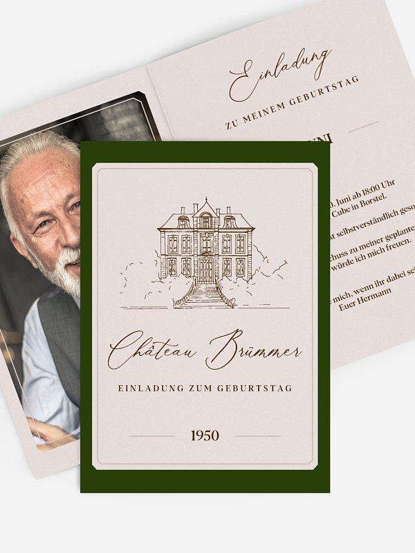 Einladung 70. Geburtstag Chateau