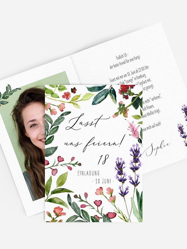 Einladung 18. Geburtstag Blumenvoll