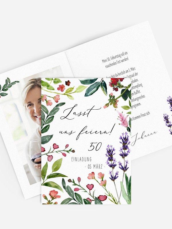Einladung 50. Geburtstag Blumenvoll