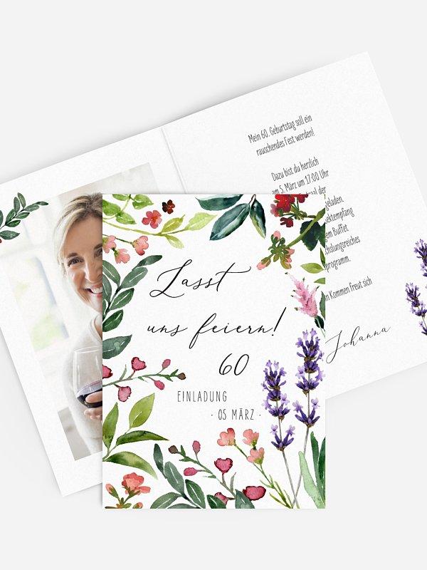 Einladung 60. Geburtstag Blumenvoll