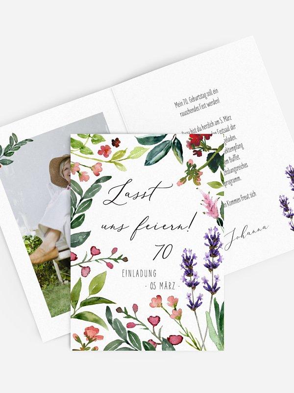 Einladung 70. Geburtstag Blumenvoll