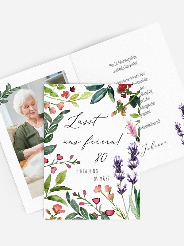 Einladung 80. Geburtstag Blumenvoll