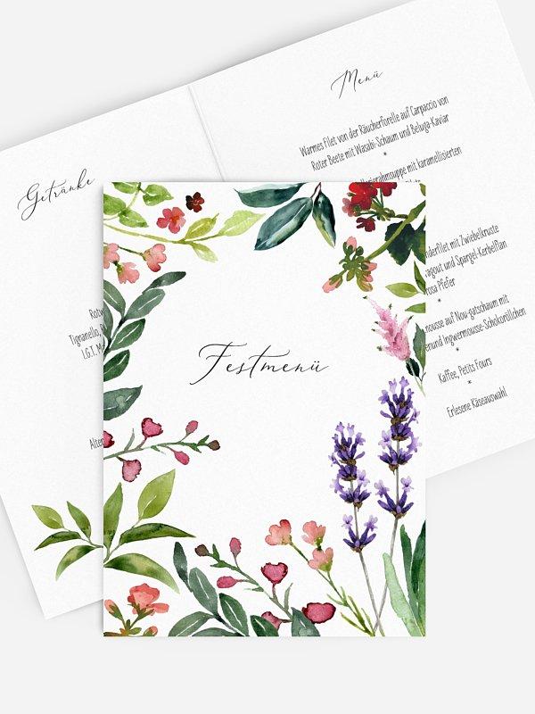 Menükarte Geburtstag Blumenvoll