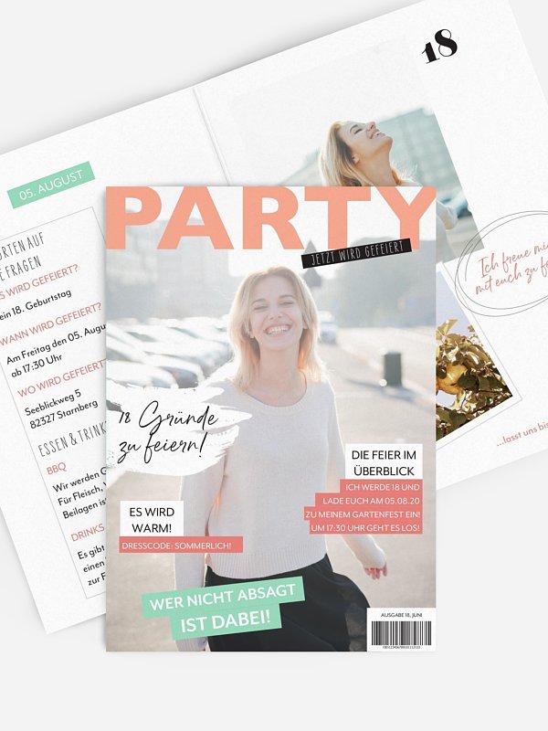 Einladung 18. Geburtstag Party Magazin