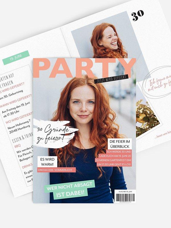 Einladung 30. Geburtstag Party Magazin