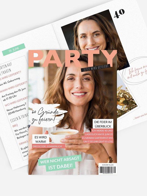 Einladung 40. Geburtstag Party Magazin
