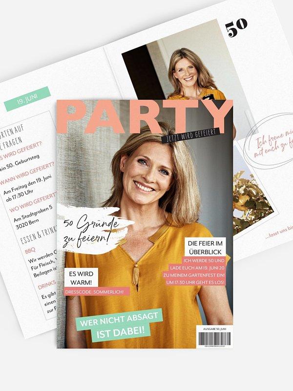 Einladung 50. Geburtstag Party Magazin