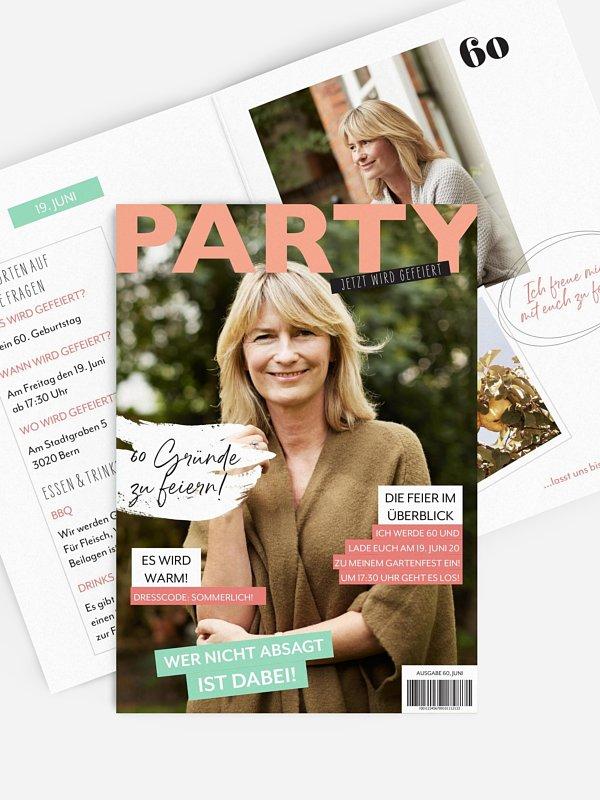 Einladung 60. Geburtstag Party Magazin