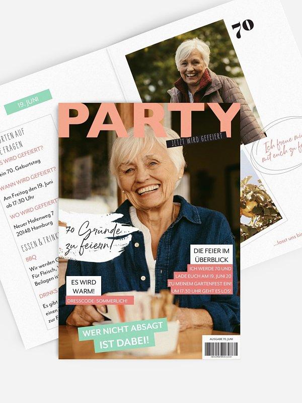 Einladung 70. Geburtstag Party Magazin