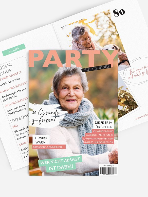 Einladung 80. Geburtstag Party Magazin