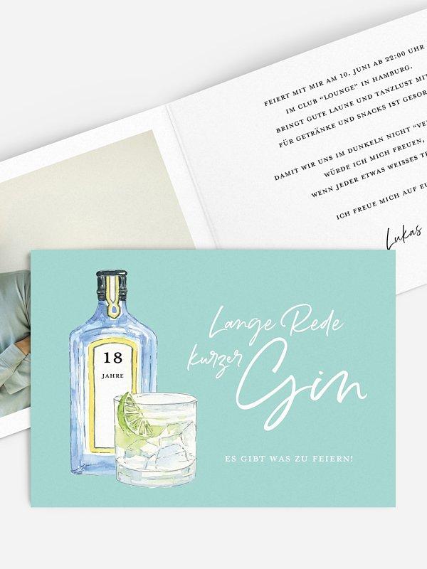Einladung 18. Geburtstag Gin Time