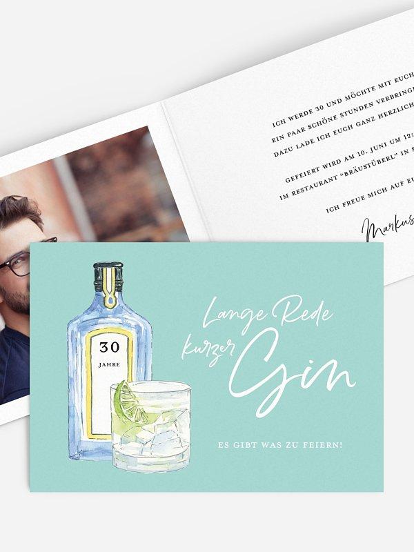 Einladung 30. Geburtstag Gin Time