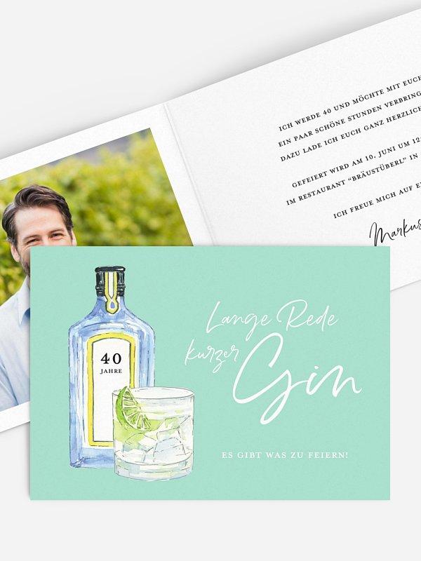 Einladung 40. Geburtstag Gin Time
