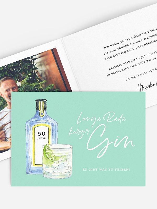 Einladung 50. Geburtstag Gin Time
