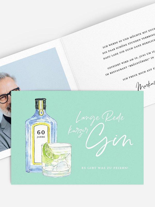 Einladung 60. Geburtstag Gin Time
