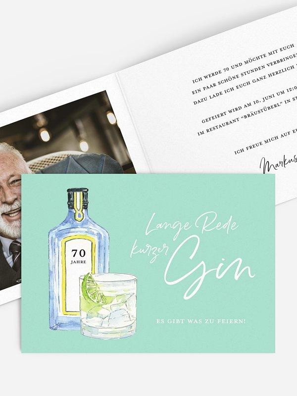 Einladung 70. Geburtstag Gin Time