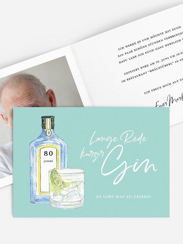 Einladung 80. Geburtstag Gin Time