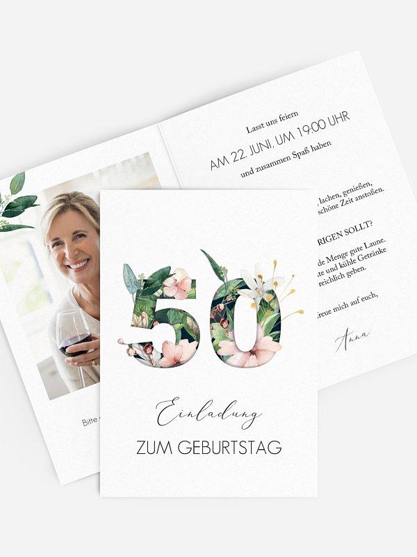 Einladung 50. Geburtstag Blumenzahl