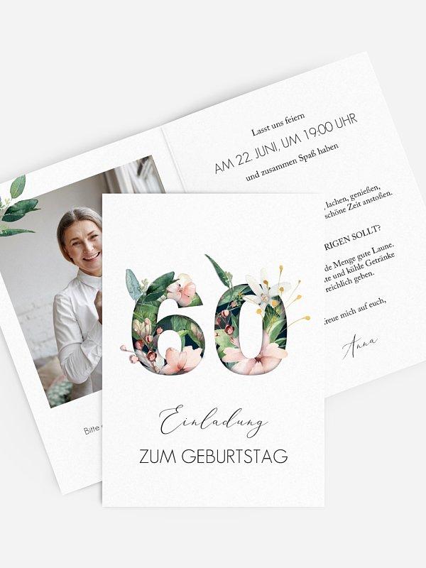 Einladung 60. Geburtstag Blumenzahl