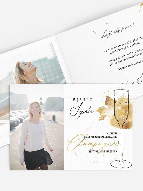 Einladung 18. Geburtstag Champagnerglas