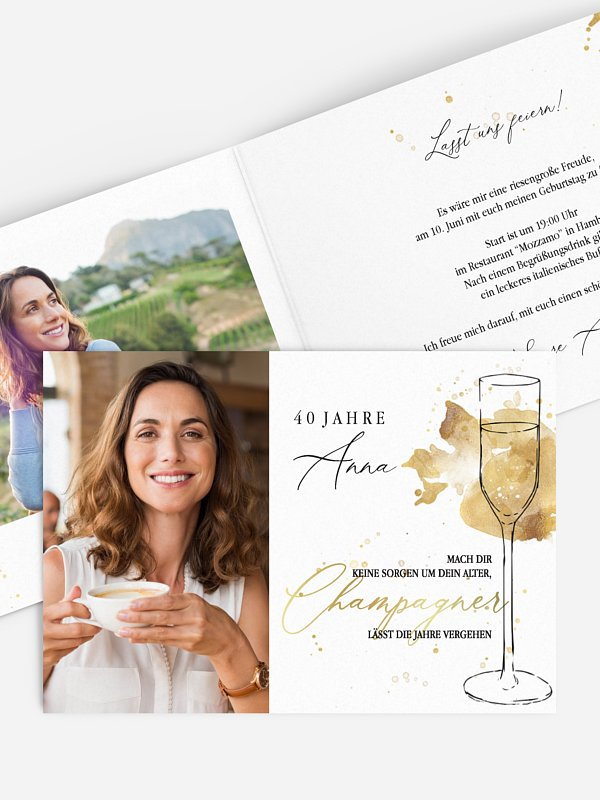 Einladung 40. Geburtstag Champagnerglas