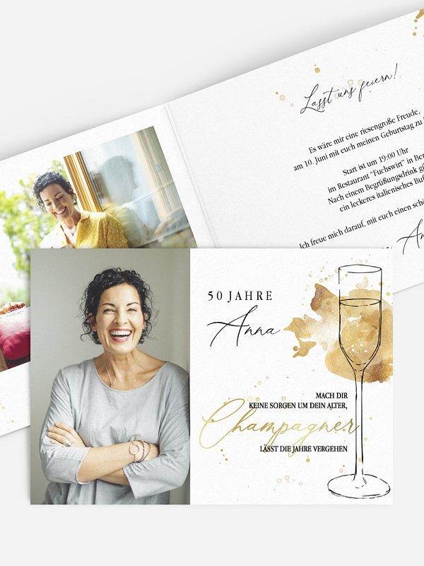 Einladung 50. Geburtstag Champagnerglas